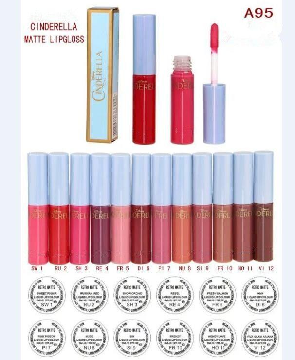 Regalo gratuito Nuovo Trucco di Trucco Cenerentola Labbra Matte Gloss Liquid Liquid Liquid 12 Diversi Lip Colors 5ml