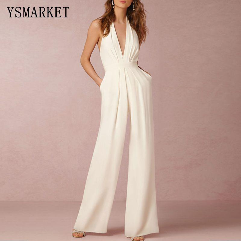 917248f9d5ee 2019 White Romper Summer Sexy Women Jumpsuit Sleeveless Trousers Long Pants  Overall Wide Leg Lady Jumpsuit High Waist Halter E207 From Yannismarket001