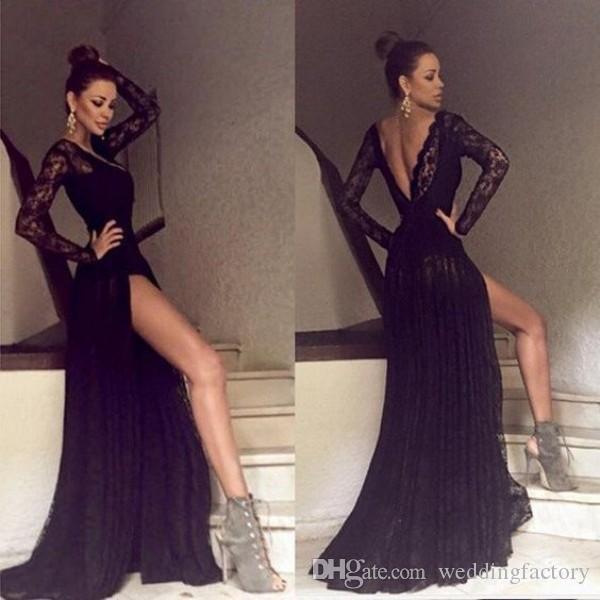 Sexy vestidos de noche de encaje negro profundos con cuello en V ilusión mangas largas sin espalda fiesta de fiesta de fiesta con alto trenes de barrido dividido hecho a medida