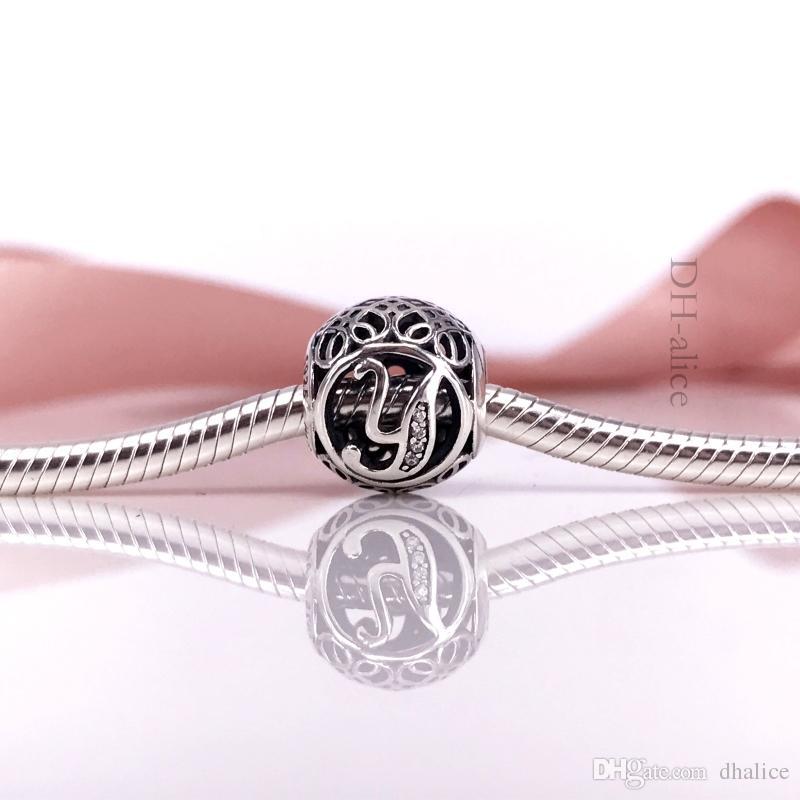 Otantik 925 Gümüş Vintage Y, Temizle CZ charm Fit DIY Pandora Bilezik Ve Kolye 791869CZ