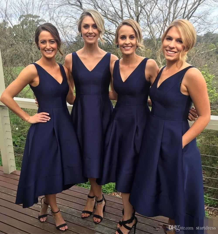 Hot Sale Dark Navy V Neck Ankle Length Bridesmaid Dress Sexy High-Low Taffeta Wedding Party Dresses 2017 Short Bridesmaid Dresse With Pocket