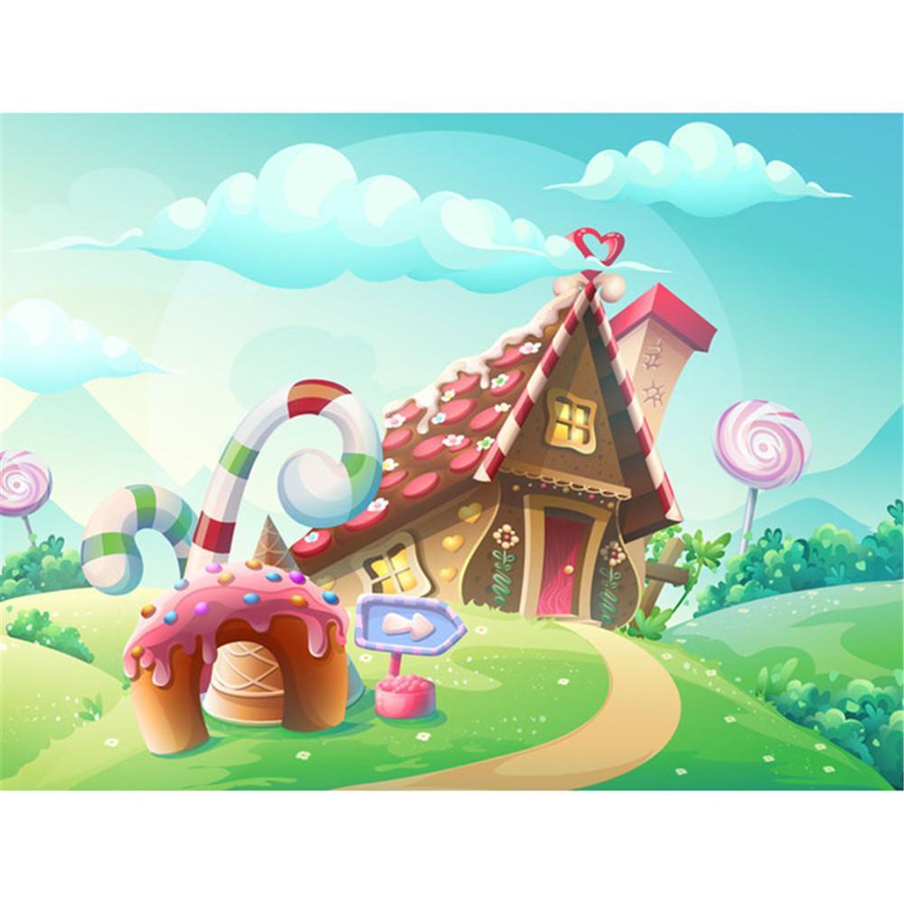 digital printed cartoon candy house backdrop baby newborn studio