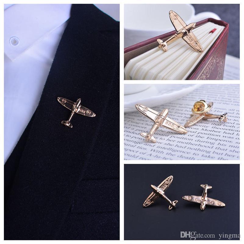 Mode Männer passt Flugzeug vergoldeten Gold Metall Push Button Broschen Airbus Flugzeug Medaille Abzeichen personalisierte männliche Broches Kragen Pins weiblich