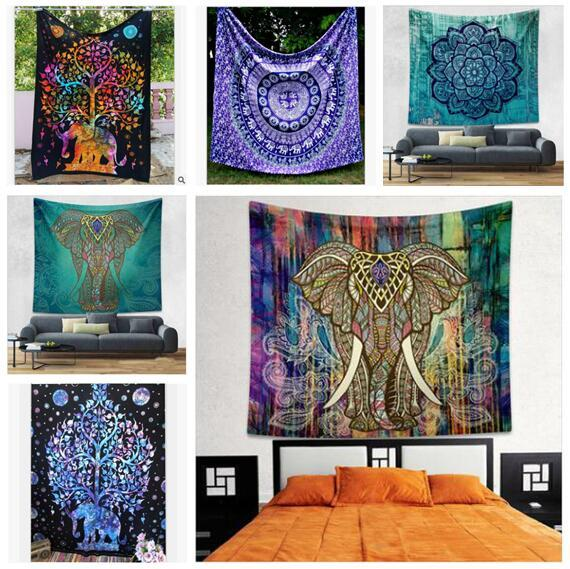 Elephant Tapestry Wall Hanging blanket tapestry mandala hippie bohemian elephant tapestry wall