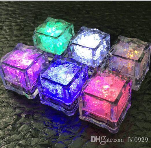 Aoto colors Mini Romantic Luminous ice Cube LED Artificial Ice Cube Flash LED Light Wedding Christmas Decoration Party,free shipping