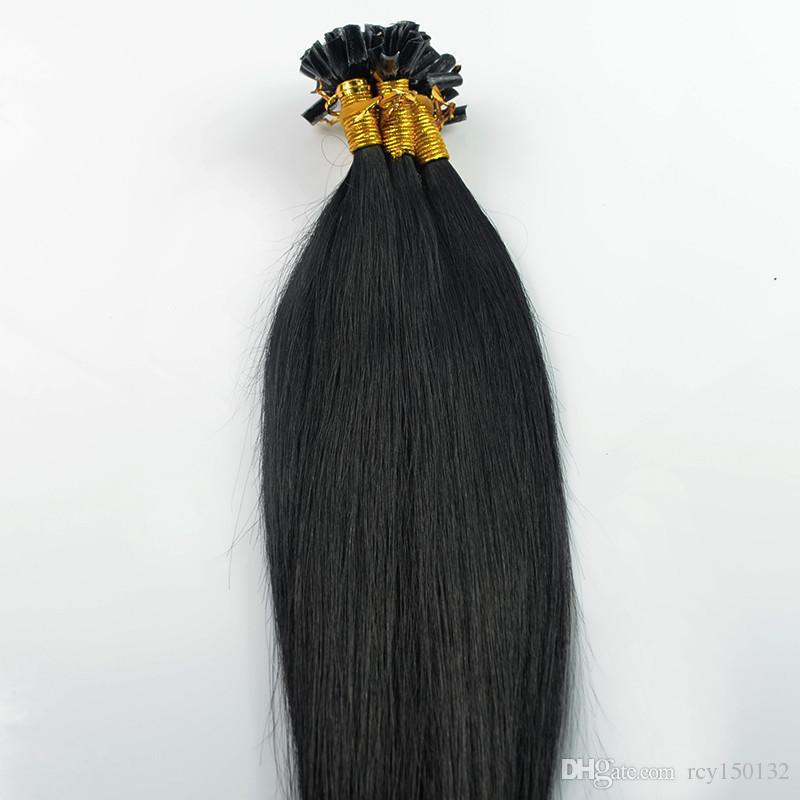 البرازيلي عذراء الشعر مستقيم u غيض الشعر التمديد # 1 جيت الأسود 100 جرام 100 ثانية الكيراتين عصا طرف الشعر البشري