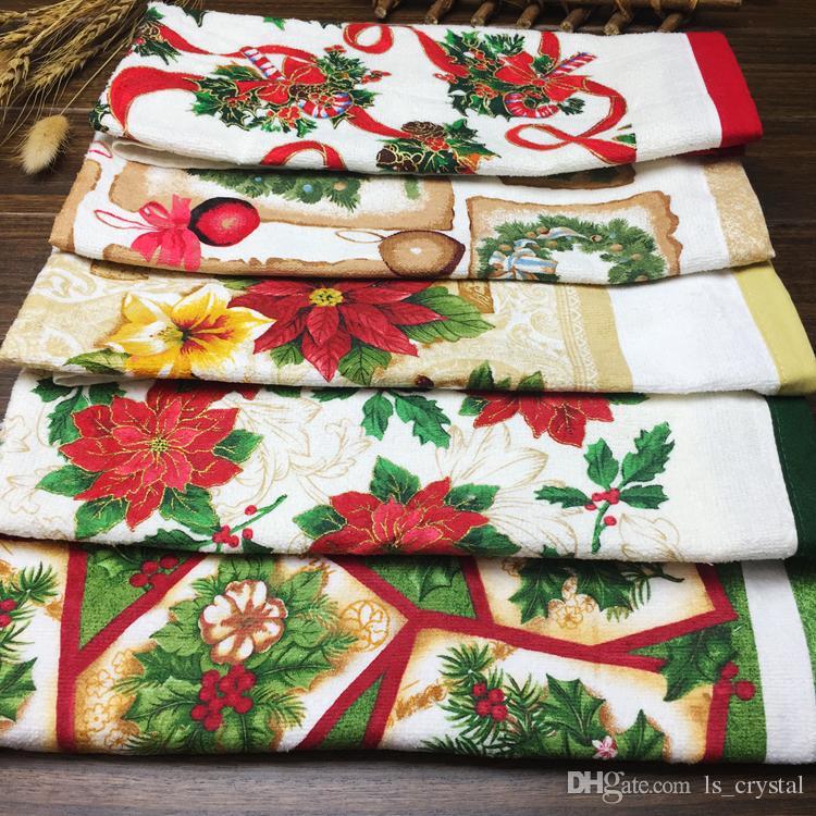 Mix size Xmas Images Cotton Hand Towel Cut Pile Printed Pillow Towel Tea Towel Christmas Gift RY1513