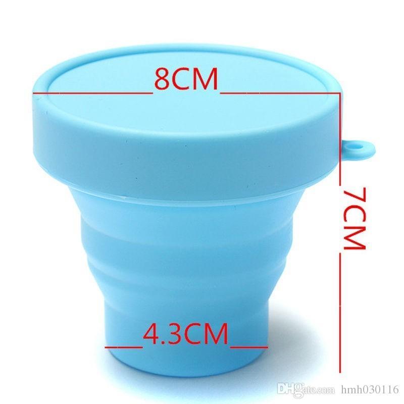 Venta al por mayor 200 unid portátil de silicona retráctil plegable botella de agua de viaje al aire libre telescópica plegable suave agua potable tapa