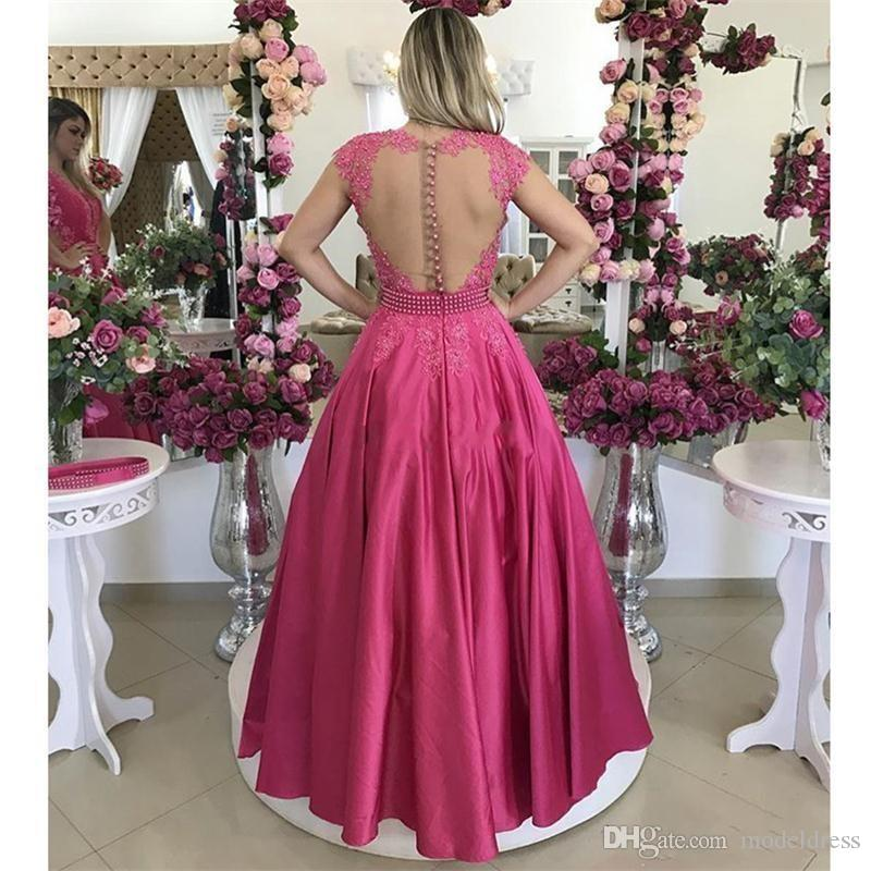 2017 New Fuchsia Arabic Lace Prom Dresses Jewel Appliques Pearls Detachable Skirt Evening Party Pageant Gowns Robe De Soiree Cheap Custom