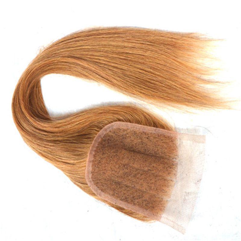 Клубника Блондинка 4*4 Кружева Закрытие С Прямыми Пучками Волос #27 Мед Блондинка Девственница Индийский Человеческих Волос Ткет С Свободной Части Верхней Закрытия