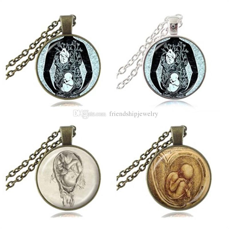 Großhandel Fötus Halskette Leonardo Da Vinci Zeichnung Anhänger