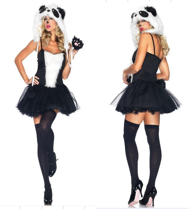 naughty panda costume claccis black white furry animal cosplay carnival cat game uniform halloween party fancy dress xmas outfit girl halloween costumes - Naughty Girl Halloween Costumes