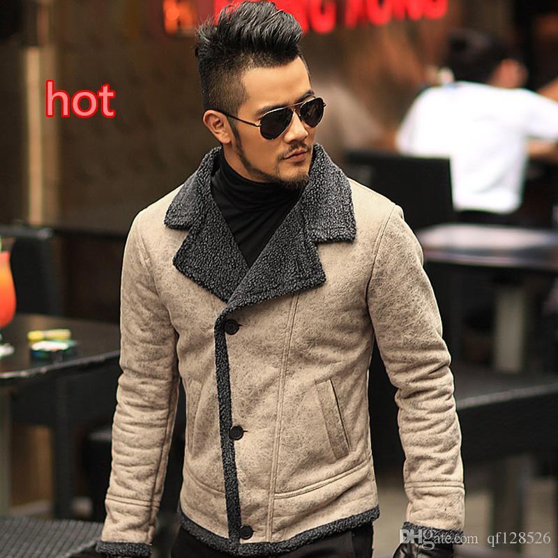 Autumn Vintage Old Leather Jacket Men Wool Lining Men Warm Fur ...