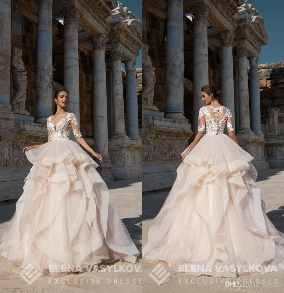 Tiered Champagne Bridesmaid Dresses