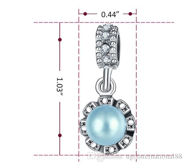 Wholesale 925 Silver Plated European Charm Beads Fresh Pearl Crystal Flower Pendant Bead Fit Women Pandora Bracelet Bangle Diy Jewelry