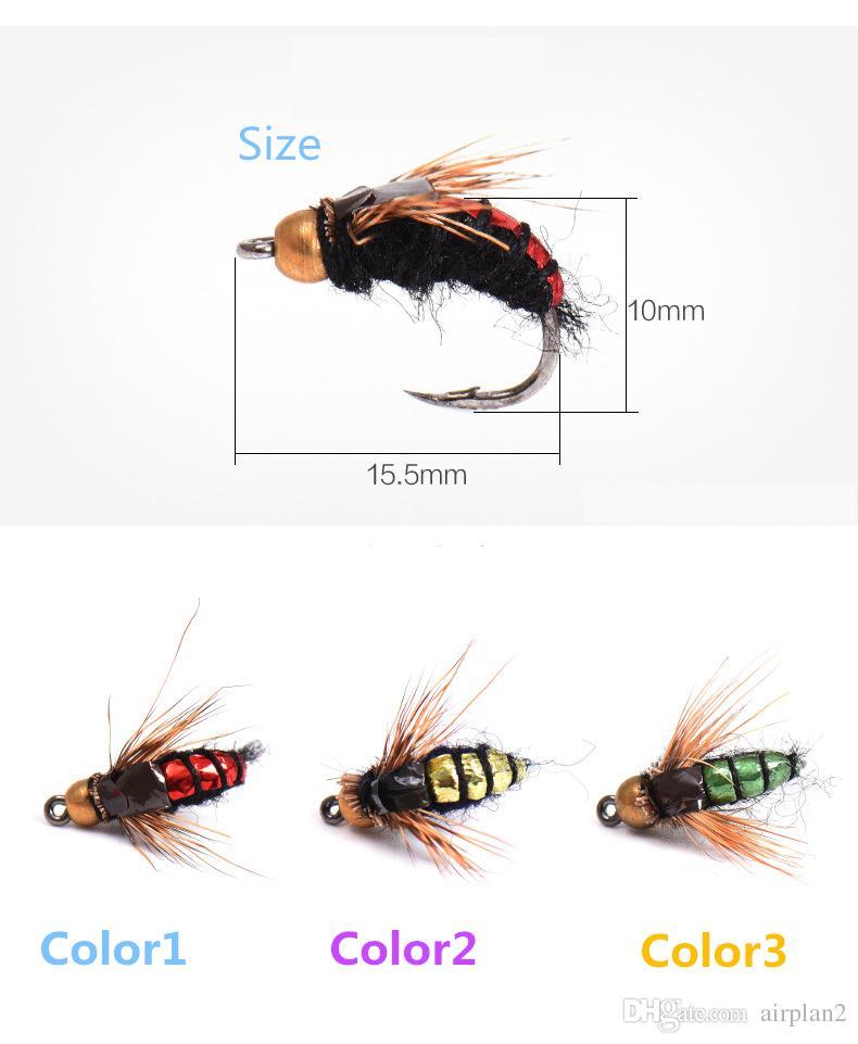 Wholesale Fly Flaby Fleies Бионные насекомые Приманки Рыбалка Приманка Поддельные лета Искусственная приманка с острым крюком Легко притягивает рыбу 1606731