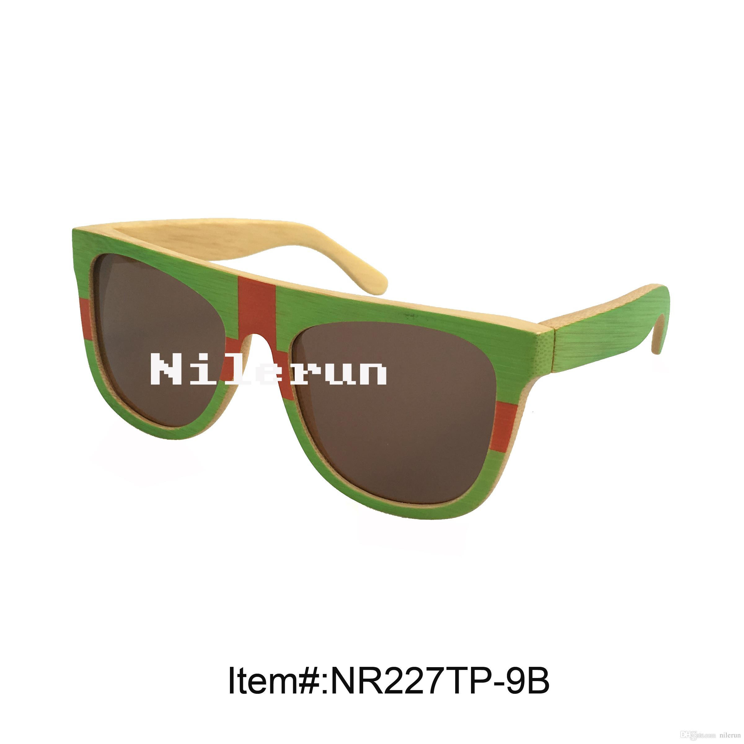 multi color green red hand painted bamboo sunglasses