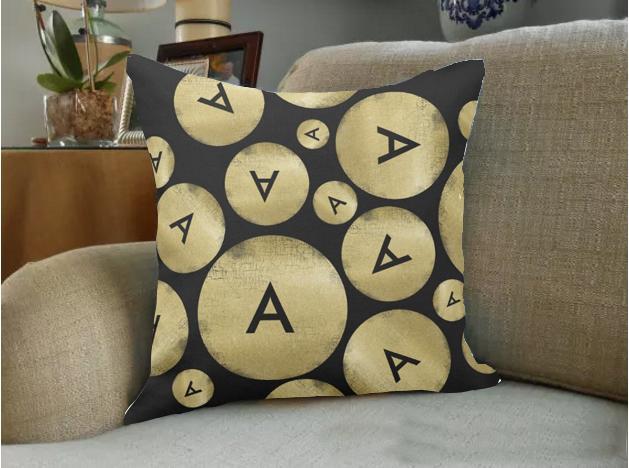 Hohe qualität großhandel fabrik direkt benutzerdefinierte cool und moderne großbuchstaben benutzerdefinierte schwarz doppelseitige throw kissen 16 zoll 18 zoll 20 zoll