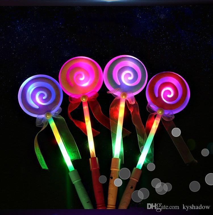 2017 34cm Cute Lollipop Ribbons Led Glowing Stick Flashing Light
