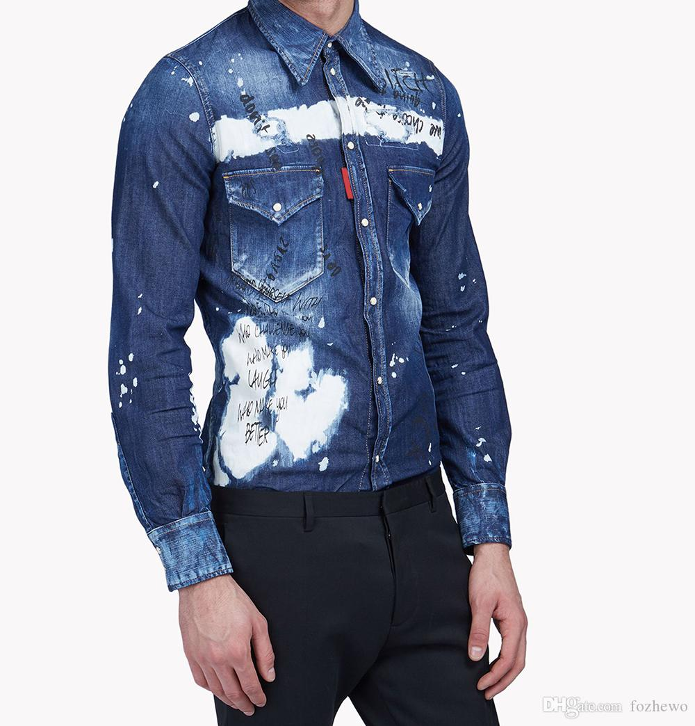 eea8061a39c7 Men Western Patch Denim Shirt Composed Of Distressed Bleached Denim  Dramatized Grafitti Scribbles And Designs Shirt Canada 2019 From Fozhewo,  ...