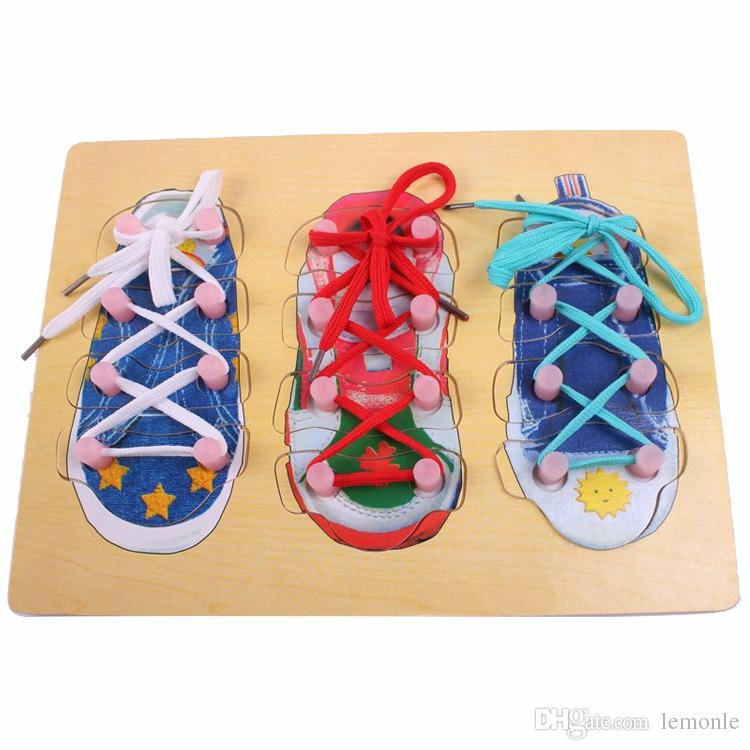 Children Montessori Educational Toy Kids Learn How To Tie Shoelaces Wooden Shoes Lacing Toy Hand Coordination Development Toys