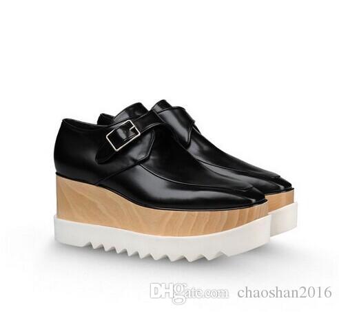 new Fashion Wedge Shoes Stella Mccartney women Shoes platform White Genuine Leather Upper Orange Sole Stars