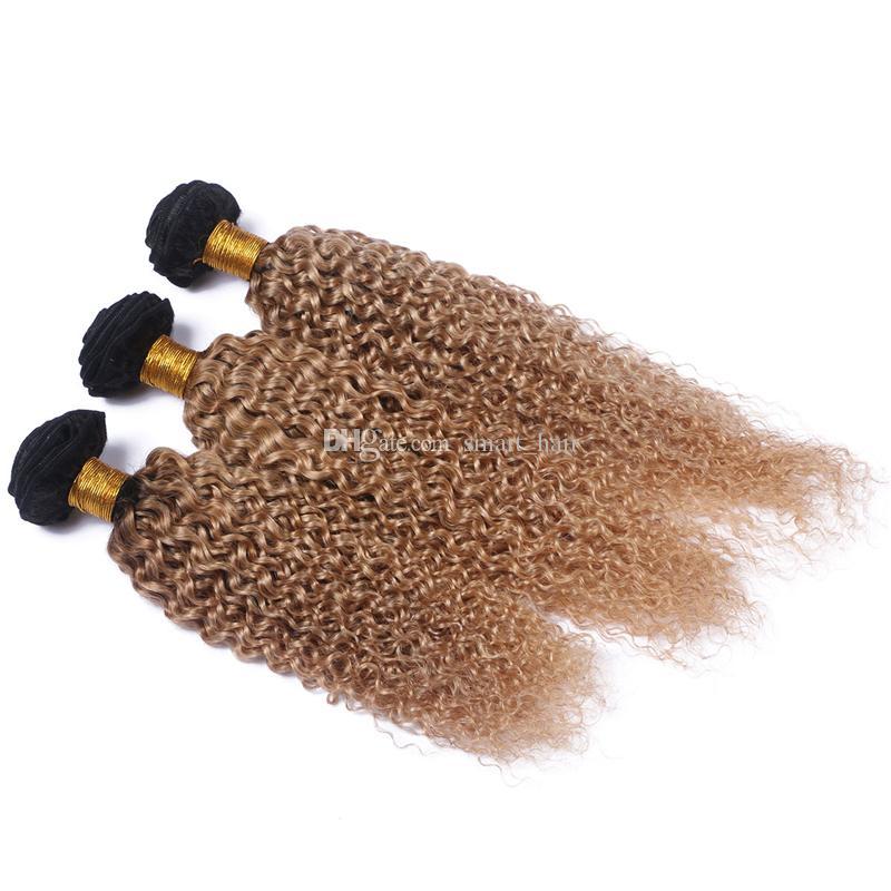 Dark Root 1B 27 Kinky Curly Hair Weaves Two Tone Honey Blonde 1B 27 Brazilian Virgin Human Hair Weft Extension For Woman