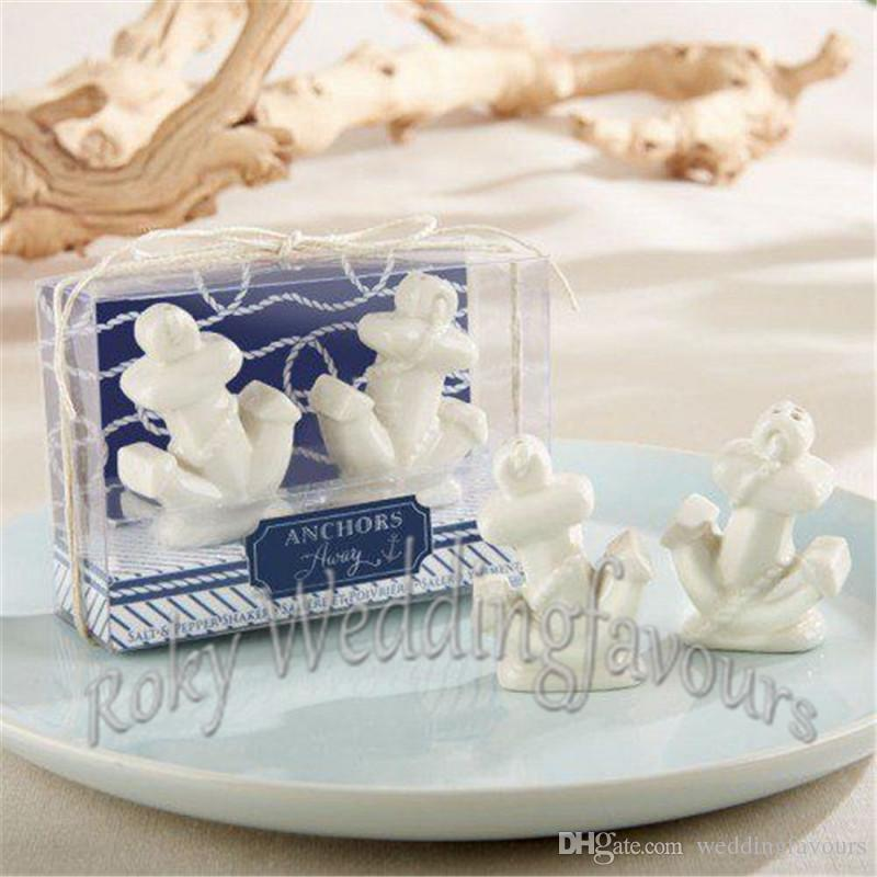 Anchors Away Ceramic Anchor Salt and Pepper Shakers Party Giveaways Nautical Themed Wedding Favors
