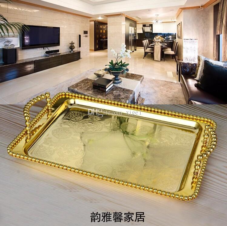 38cm x 28cm 대형 유럽 직사각형 금색 / 은색 도금 식사 트레이, 저장 트레이, 가정 장식 서비스 트레이