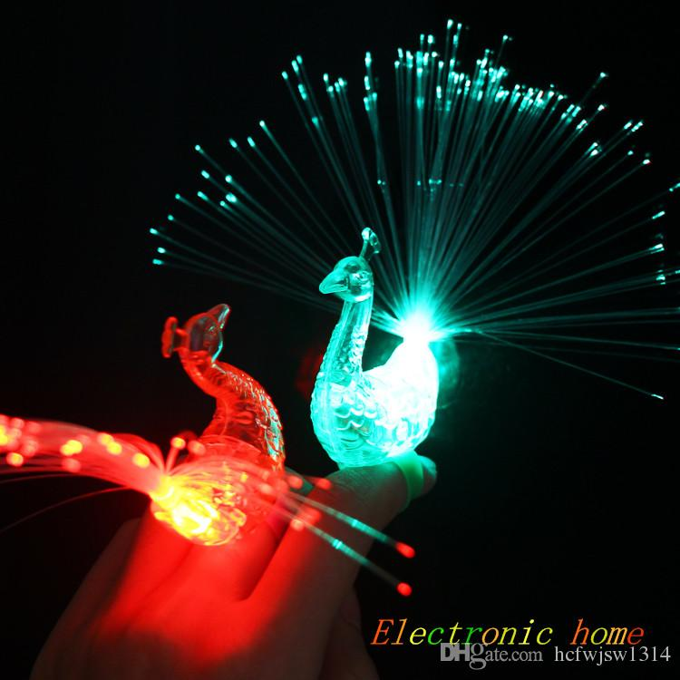 Peacock finger ring bracelet light discoloration flash cartoon fiber small toys creative gift bag mail