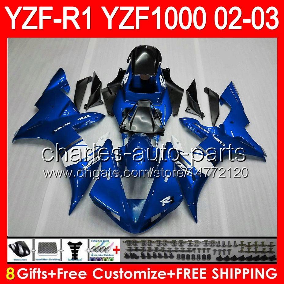Glanz blau 8gifts Körper für YAMAHA YZFR1 02 03 YZF1000 YZF-R1 02-03 92NO73 YZF 1000 YZF-1000 YZF R 1 YZF R1 2002 2003 TOP blau schwarz Verkleidung
