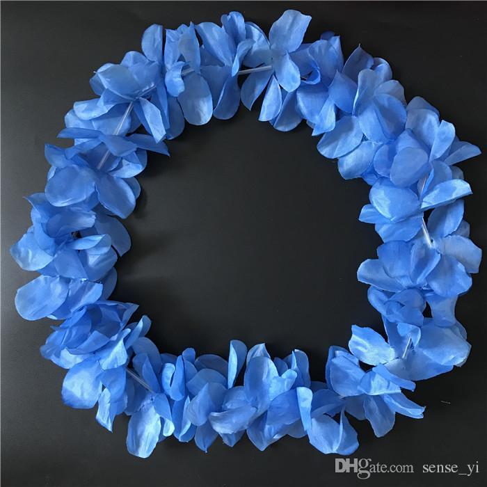 Orange Hawaiian Hula Leis Festive Party Garland Necklace Flowers Wreaths Artificial Silk Flowers