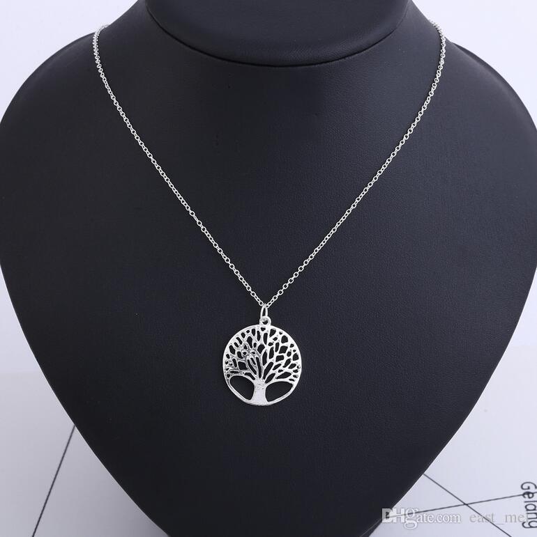 Los mejores agujeros redondos de regalo deseando el collar del árbol de la vida del árbol WFN441 con la cadena Orden de mezcla 20 piezas mucho