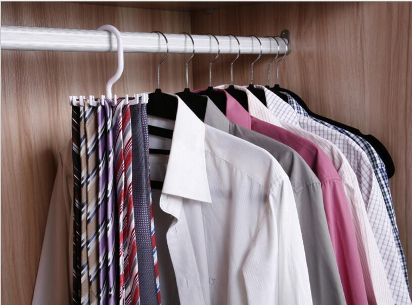 New 360-Rotation Tie Hanging Scarf Belt White Plastic Necktie Rack Muffler Hanger Storage Hook dandys 11*11cm