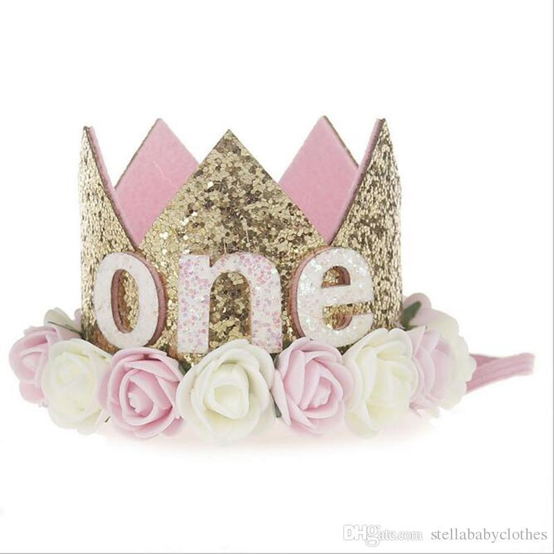 1st Baby Girls Birthday Hat Newborn Flower Girls Headband Crown Girls Hair Accessory Glitter Baby Newborn Headwrap