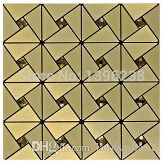 Großhandel Selbstklebende Metall Mosaik Fliesen Hohe Qualität Puzzle  Spiegel Tv Backsplash Wand Dekor Europa Stil Gold Glasmosaik Fliesen, ...