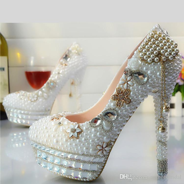 688a4dacef Wholesale Gold Tassel Flower Cinderella Shoes Prom Evening High Heels  Beading Rhinestones Hand-made Bridal Bridesmaid Wedding Shoes 098