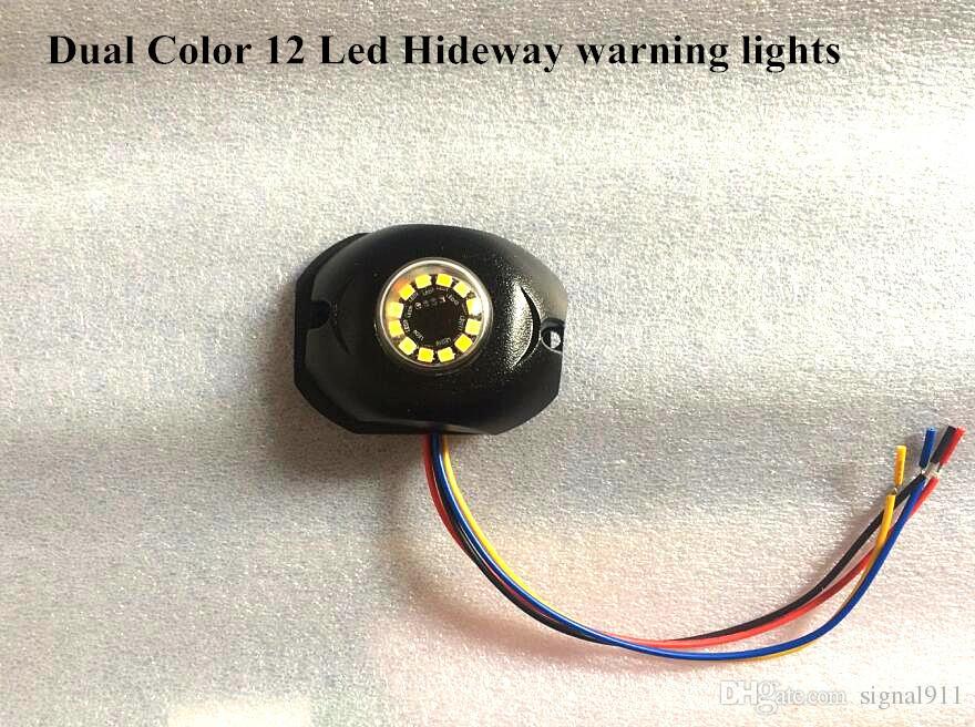 Brilhante Dual cor 12 * 3 W Led carro Esconder as luzes de advertência do estroboscópio, luz de emergência da grade, llamp sinal marcador lateral, 35flash, à prova d 'água, / 1lot