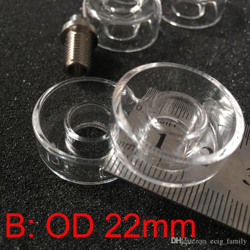 Plat de quartz de remplacement pour le titane hybride Diamètre extérieur 25mm ou 22mm Plat de quartz en stock pour les plates-formes pétrolières Bongs pipe à eau en verre
