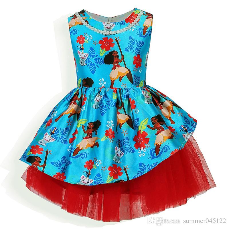 Großhandel Neue Mädchen Partei Kleider Moana Blaues Kleid Prinzessin ...