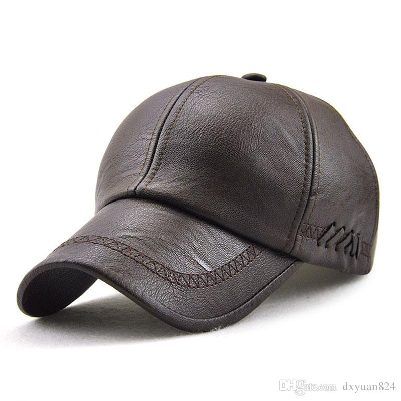 89964c7e2ed Mens Faux Leather Dad Hat Adjustable Winter Warm Baseball Cap Classic  Stylish Cool Outdoor Sports High Quality Durable Ball Hat Compton Cap  Baseball Caps ...