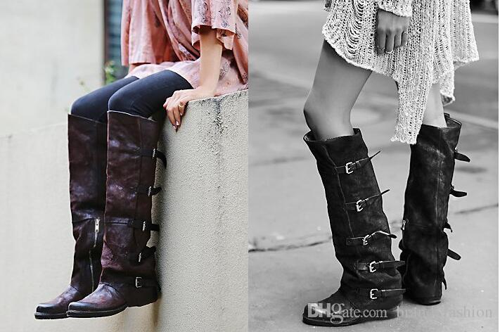 Vintage Leder Kniehohe Stiefel Frauen Top Qualität Karree Flache Gürtelschnalle Mode Stiefel Herbst Winter New Bota