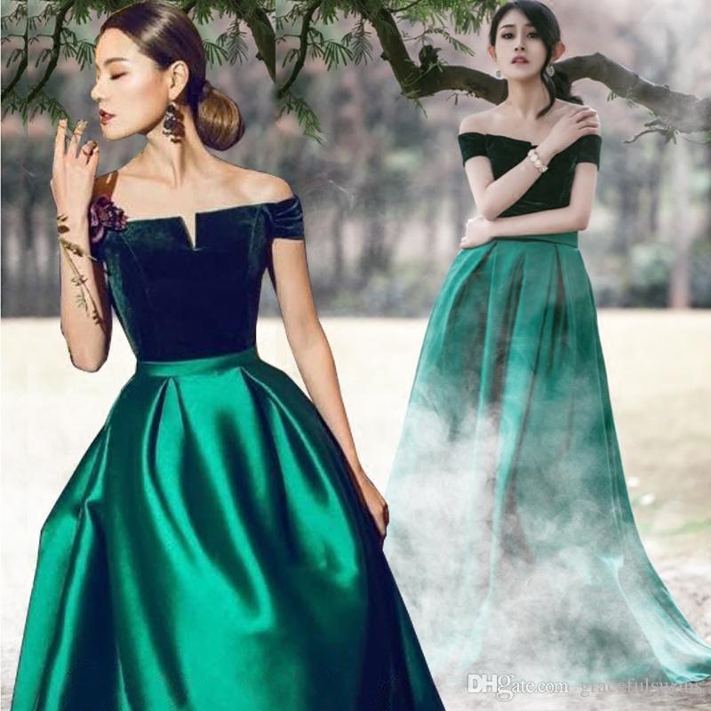 e3c7c03a23 Boat Neck Velvet Satin A-Line Long Formal Dresses Emerald Green Elegant  Evening Dresses Abiti Da Cerimonia Da Sera