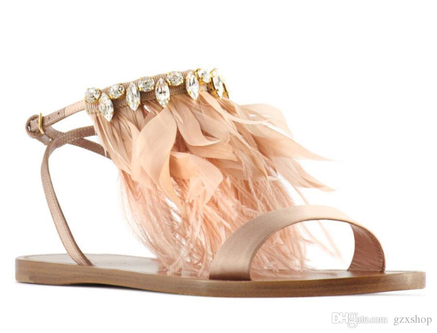 2017 New Feather Gladiator Sandals Woman Fashions Open Toe Rhinestone Pink Feather Silk Flat Shoes For Women Tassel Sandals Woman
