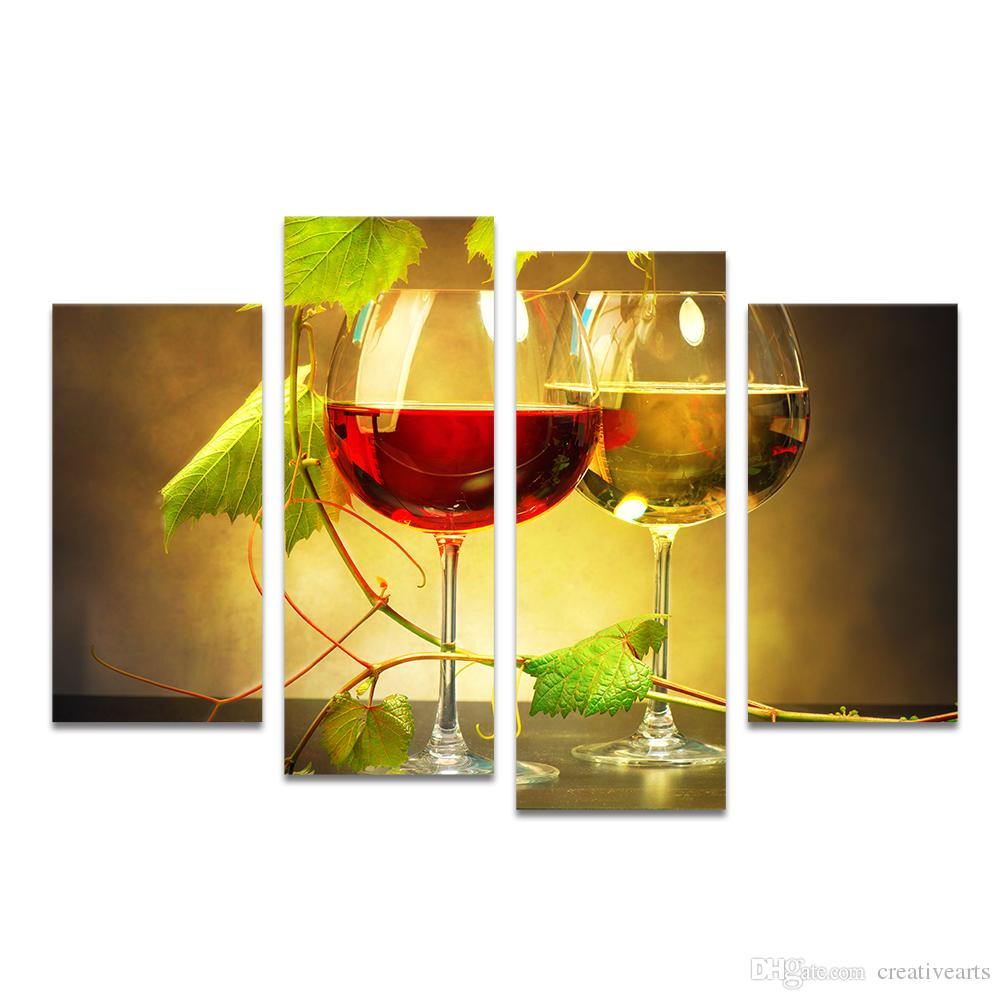 HD Printed Red Wine White Wine Canvas Painting Wine-tasting Wall ...