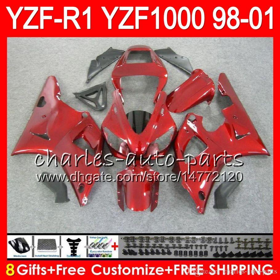 8Gift Cuerpo para YAMAHA YZF 1000 R 1 YZFR1 98 99 00 01 61HM21 rojo negro YZF1000 YZF R1 YZF-R1000 YZF-R1 1998 1999 2000 2001 Carenado