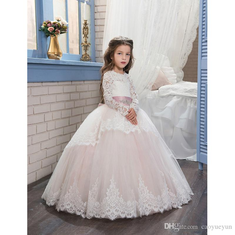 2019 Pageant Dresses for Girls Glitz Long Sleeves Lace Up Ball Gown  Appliques Bow Sashes Birthday First Flower Girl Dresses Online with   62.14 Piece on ... c032db418bd0