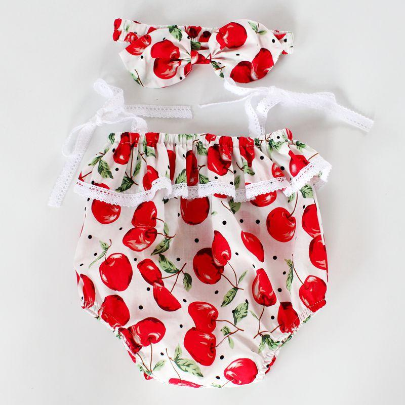 30fa6d30c602 Compre Baby Girl Romper + Diadema Con Wine Red Cherry Baby Romper Bubble  Sunsuit Beach Summer Toddler Bubble Romper Outfits Regalo De La Ducha Del  Bebé A ...