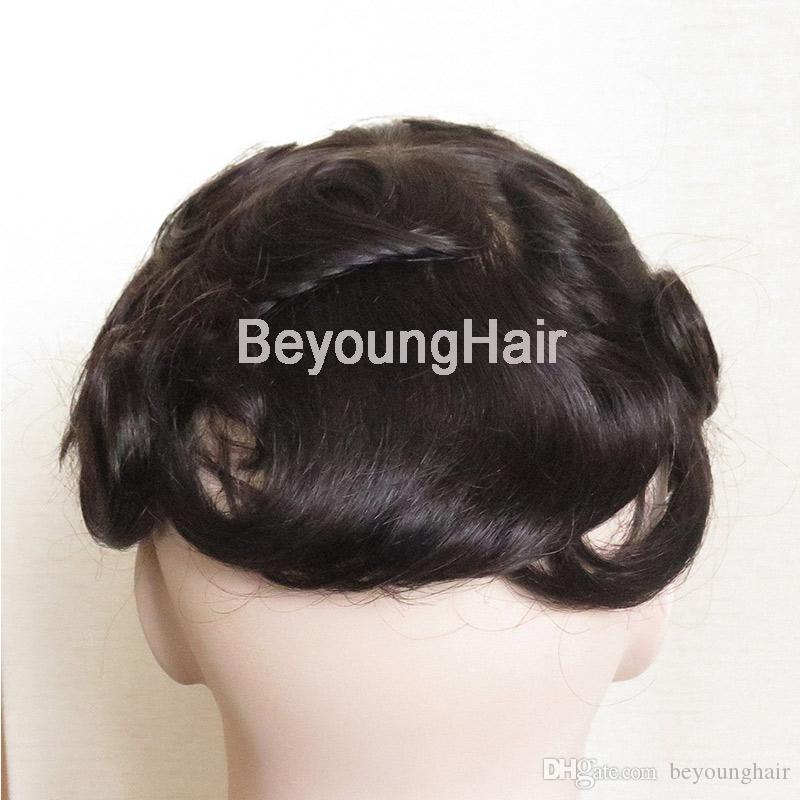 Factory direct French lace with PU back sides human hair replacement for men, human hair toupee for men