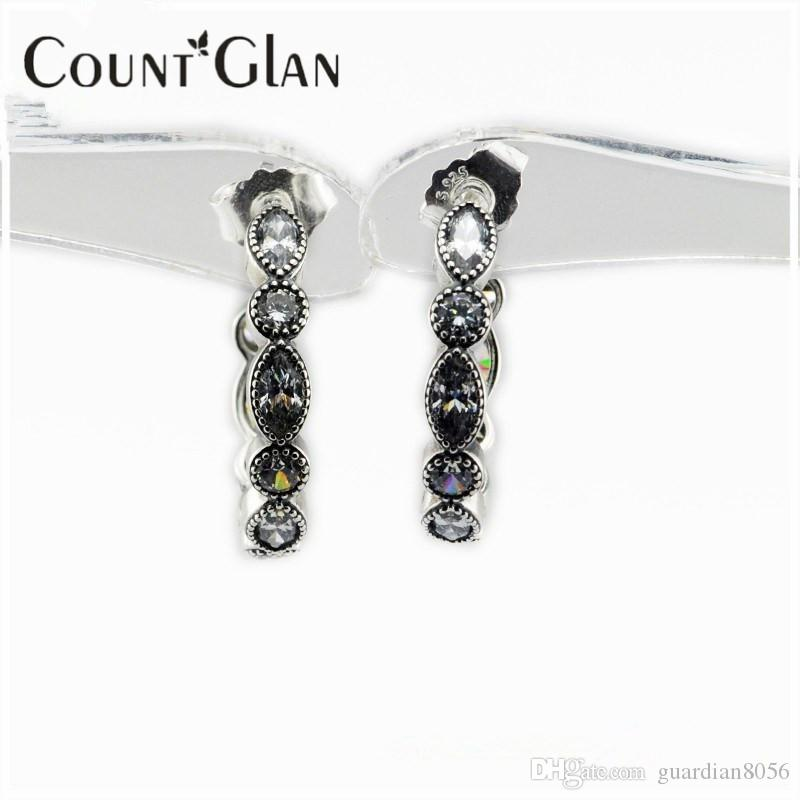 2016 New Alluring Brilliant Marquise Silver Stud Earrings With Clear CZ 925 Sterling Silver Women Jewelry DIY